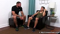 Asian jock getting horny while his feet are getting licked by hunk