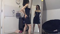 Petite Goth Girl Flirting with Herself in the Mirror, Changing Clothes