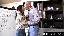 18332 Asian Young Babe Fucked by bald old man she sucks dick pussy sex swallows preview