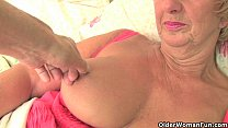 British grandma Samantha lubes up her old pussy...