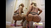 Beautiful blonde in fishnets double penetrated ...