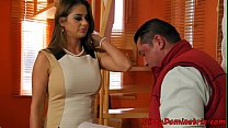 Busty babe has her way with lucky guy