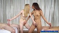 Lucky daddies getting some sexual massage from Jessica Marie and Sarah Lace