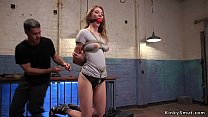Babe doggy banged in threesome training video