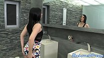 Classy babe spitroasted by two hard cocks