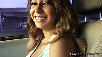 Busty Mexican teen blowjob in the car pov