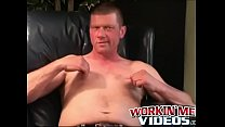 Mature gay shoots a big load while jerking off furiously