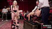 Bondage subs toyed and assfucked in bdsm group