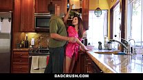 DadCrush - Petite Step-Daughter Fucked In Kitchen Thumbnail