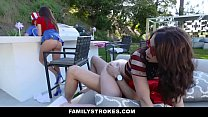 FamilyStrokes - Sexy Milf Joins Step-Son & Daughter In Threesome porn image
