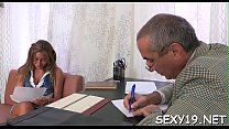 Lusty playgirl is giving mature teacher a lusty blowjob session video