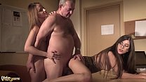 Sexy secretary joins in hardcore threesome with her boss and gets deep pussy fuck