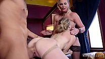 Blonde teen submitted in ffm threesome