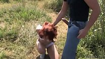 Redhead in underwear walked and public fucked