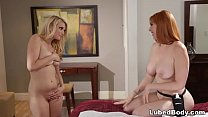Redhead masseuse Lauren Phillips surprised Skyl...