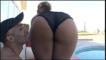 Wide assed black bitch poolside rides hot black cock
