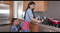 Hot step mom and son kitchen fuck front dad
