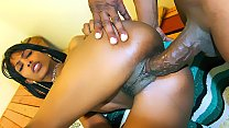 Skinny black  babe gets fucked by a huge black dick