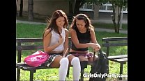 Cute girls play with a purple dildo's Thumb