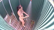 Brunette MILF Showering in Public Pool