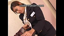 Asian Hairy Air Hostess in uniform getting sex thumb