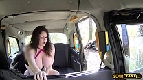 Nice big tits super hot lady gets fucked and sucked in the taxi preview image