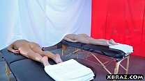 Two hot babes get a special massage treatment at a spa thumbnail