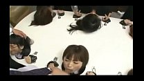 6 asian girls bound to table face fucked