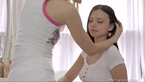Two cute bi-curious teen girls tenderly kiss and pet each other's pussies Thumbnail
