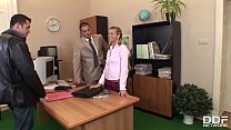 XXX office threesome with petite blonde Cloe gives her chills of pleasure Thumbnail
