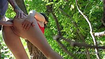 Euro babe takes money and big dick outdoor thumbnail