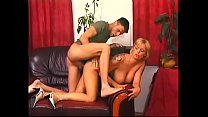 Hot blonde MILF Silla takes cumshot on her big tits after hard fucking by big dick