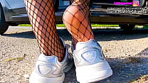 Kati lick her shoes me sweaty fishnet tights shoeplay, dipping sweaty insoles and stinky feet lick her shoes