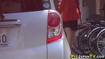 Japanese babes pee publicly in car park thumbnail