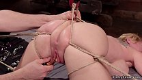 Busty Milf tits tormented in backbend bondage
