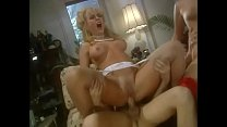Three randy blondes and three studs in fancy clothes have orgy in room