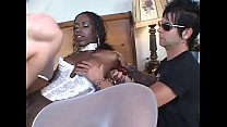Sexy Black Chick Brutally Fucked By Two White Guys