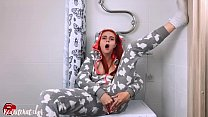 Cute Redhead Masturbate Pussy Dildo and Orgasm in Kigurumi