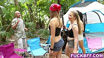 Camping teens share a big cock in a tent in the...