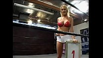 Two mounters ask charming blonde ring girl with big knockers Trina Michaels to help them in design reliability analysis