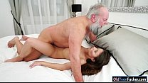 Hungarian Anita Bellini sucks grandpa before fu...