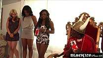 Busty ebony spanks her big ass while bouncing o...
