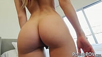 Petite blonde with a tight pussy rides a cock in POV