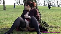 Public masturbation and pussy flashing of Nimue