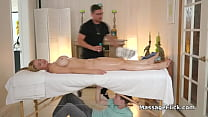 Busty milf bouncing on masseurs oily cock