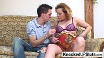 Blonde & pregnant babe pleases a hard cock