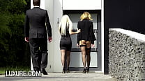 Lucky limo driver in a hot threesome with Anna Polina and Jessie Volt