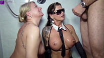 11 men pissed us in the mouth! 2 swallowing sluts in action!
