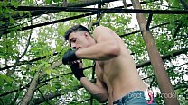 Teen brutal gay street fighter practises outdoor and shows his long dick