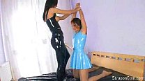 latex lesbians fucking with their strapons Thumbnail